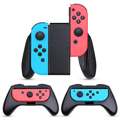 Nintendo Switch JoyCon Grips 3 Piezas, HEYSTOP Mando Joycon Grip Kit, Funda Protector Handle Kits para Mandos JoyCon Set de Nintendo Switch Controller
