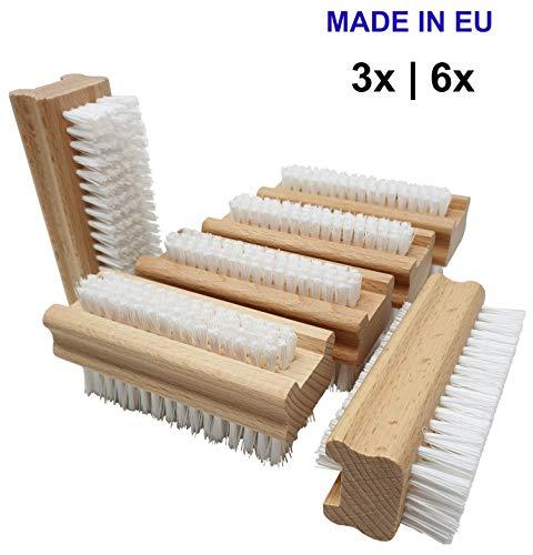 Pilix Harte Nagelbürste Holz PP Borsten | 6 Stück | hart gegen Schmutz, Öl und Fett | griffiger unbehandelter Holzkörper | Handbürste mit Kunstborsten | Handwerkerbürste | Werkstatt
