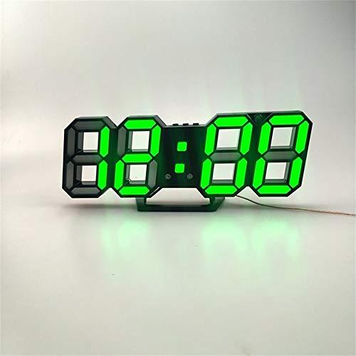 HEZHENG Wanduhr, 3D-LED-Display-Helligkeit Einstellbar Einfache Uhr Für Büro Arbeitszimmer Öffentlichen Raum Schlafzimmer Wohnzimmer Küche Bad Zimmer,Grün