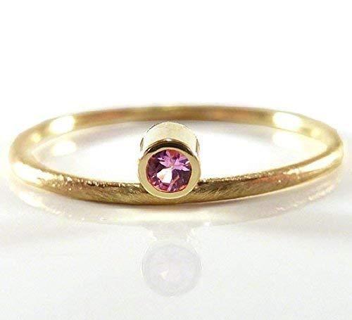 Verlobungsring aus Gelbgold mit pink Saphir - zarter Verlobungsring - handgefertigt by SILVERLOUNGE
