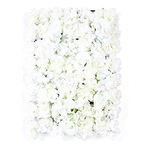 RANZIX 24 x Künstliche Blumenwand Künstliche Rose Wall DIY Hochzeit Straße Hintergrund Kunstblumen Panel für Garten Hochzeit Dekor Weiß