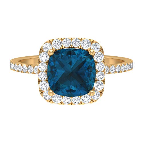 Anillo con halo de topacio azul Londres, piedras preciosas de 2,70 quilates, diamante HI-SI 8 mm, anillo de compromiso con piedra lateral, 14K Oro amarillo, Size:EU 50