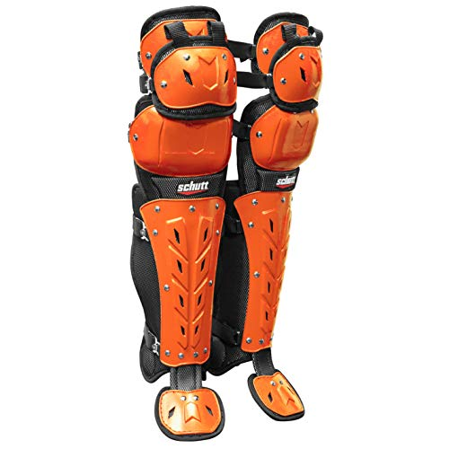 Schutt Sports AiR MAXX Scorpion Triple Knee Baseball/Softball Leg Guard, Black/Burnt Orange,17'
