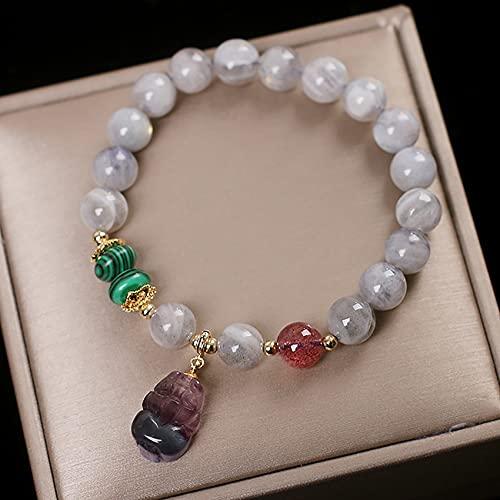 Feng shui riqueza natural luna piedra cristal pixiu pulsera reiki curación cristal chakra gema cuarzo buena suerte amuleto pi yao pulsera para atrae la prosperidad de la riqueza del amor gris