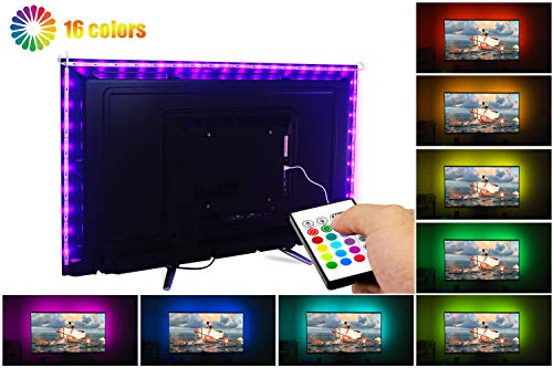 LED TV Backlight - Powered USB LED Strip Lights 6.56Ft for 40 to 60 Inch HDTV - Bias Lighting with 24keys Romote Control RGB Lighting