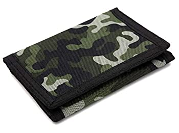 RFID Trifold Canvas Camouflage Wallet for Men,Mini Coin Purse Green Size Small