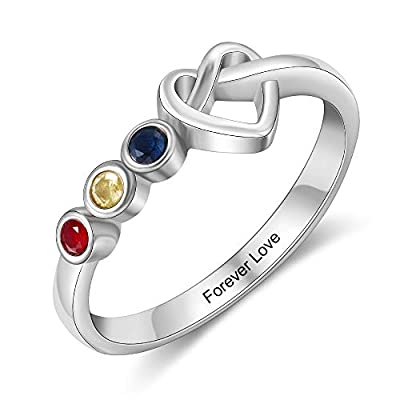 Amazon - Save 50%: kaululu Personalized 2/3/4 Birthstone Rings for Her Mother Rings with Simula…