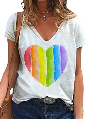 Animal Print a Camisetas para Mujer Diseñador De Gráficos Casual Hawaiano Suelto con Cuello En v Manga Corta Camiseta para Mujer Color 3 M Shirt