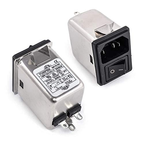 Yunpen YR10A3 IEC-Netzfilter mit Schalter, Kaltgerätebuchse, 2 Sicherungen 250VAC 10A Entstörfilter Einbaubuchse C14