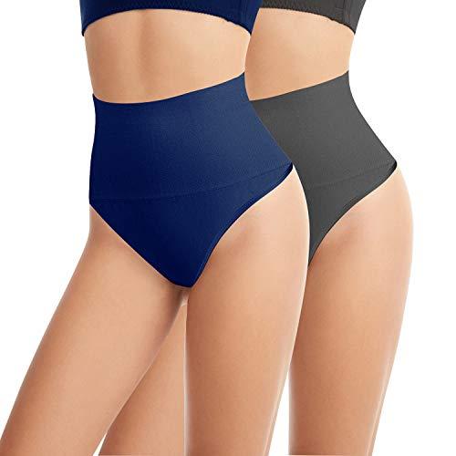 L&K-II Tanga String Body Faja Modeladora Reductora sin Costuras para Mujeres 3601 Azul Marino Gris S/M