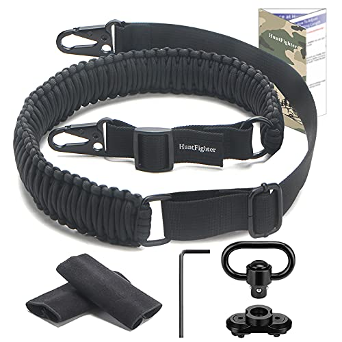 HuntFighter Rifle Sling with Swivel Mount, 2-Point 550 Paracord Gun Sling with Adjustable Length Strap, Quick Attach Snap Hook Clips (Black)