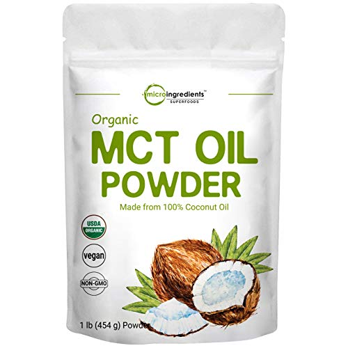 Organic MCT Oil Powder,1 Pound(16 Ounce), Fast Fuel for Body and Brain, C8 MCT Oil for Coffee Creamer, Delicious for Tea, Smoothie, Drink and Beverage, No GMOs, Keto Diet and Vegan Friendly.