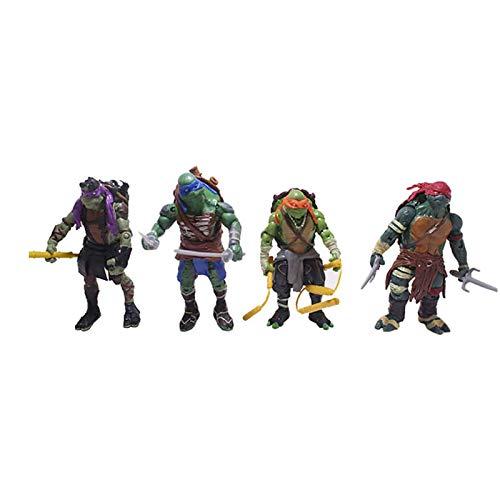 LINRUS Tartarughe Ninja Teenage Mutant, Giocattolo da Collezione per Bambini, Action Figure Tartarughe Ninja, Modello Personaggio Anime, Giocattoli Decorativi da 12 Cm (4,8 Pollici)