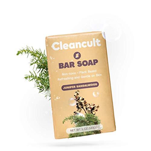 Cleancult Natural Bar Soap for Hands Body & Face, Juniper Sandalwood Scent, 5 oz Bar, Cruelty Free & Eco Friendly, Men & Women, Sensitive Skin Moisturizing Formula, Plastic Free Packaging