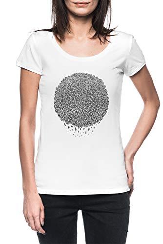 Negro Esfera Mujer Blanco Camiseta Manga Corta Women