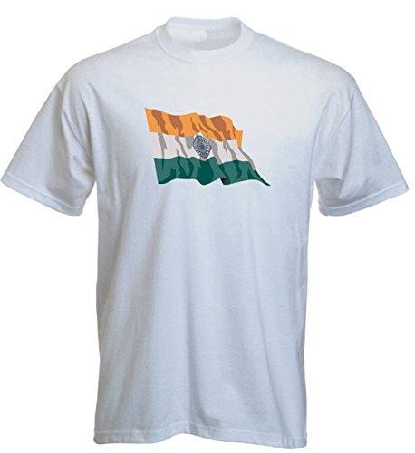 T-Shirt für Fußball LS69 Ländershirt XL Mehrfarbig India - Indien mit Fahne/Flagge - Fanshirt - Fasching - Geschenk - Fasching - Sportshirt Weiss