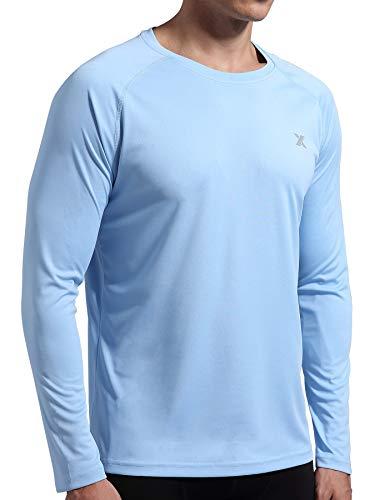 Men's UPF 50+ UV Shirt Long Sleeve Fishing Rash Guard Sun Protection SPF Hiking Running Swim Athletic Outdoor T Shirt Blue M