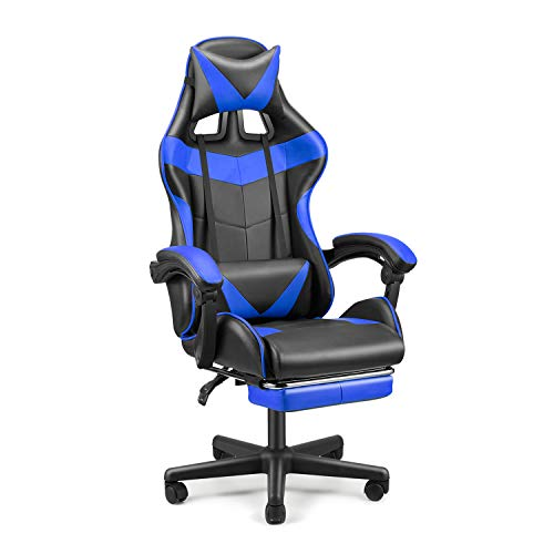SOONTRANS Racing Style Gamer Chair, Ergonomic Chair, Video Game Chairs, Gaming Chair with Footrest, Adjustable Height,Headrest Lumbar Pillow(Utopia Blue)