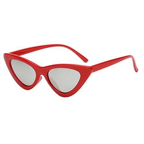 perfeclan Gafas de Sol de Gato con Ojos Redondos para Mujer - Plata roja
