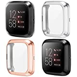KIMILAR Funda Compatible con Fitbit Versa 2 Protector de Pantalla (NO para Versa/Versa Lite/SE), [4 Pack] Suave TPU Cubierta Cover Case para Versa 2 Smartwatch, Negro/Oro Rosa/Plata/Claro