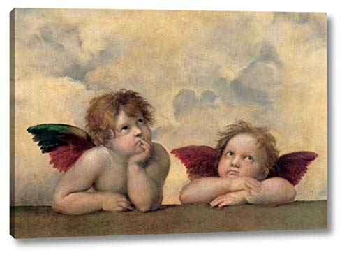 "Angeli - Madonna Sistina by Raffaello Sanzio - 17"" x 24"" Canvas Art Print Gallery Wrapped - Ready to Hang"