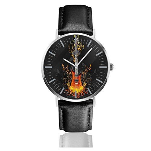 Reloj para Hombre Guitarras eléctricas Reloj de Pulsera con Banda de Cuero...