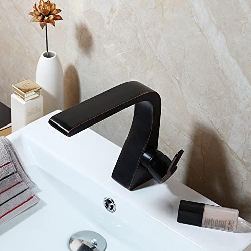 ZHQJY grifo de baño Bronce frotado con aceite banyo lavabo grifos de latón almizclado grifo monomando frío y caliente Grifos monomando de diseño innovador