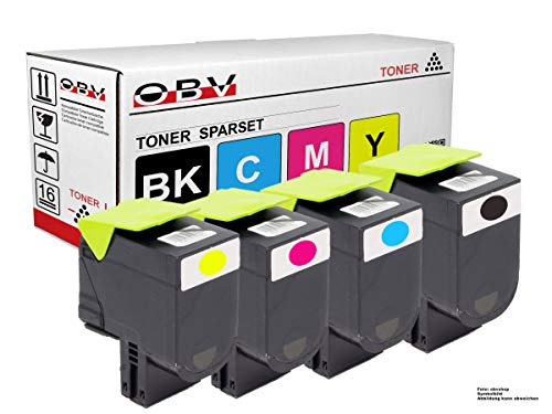 OBV 4X kompatibler Toner als Ersatz für Lexmark C2425dw C2535dw MC2325adw MC2425adw MC2640adwe MC2535adwe schwarz, Cyan, Magenta, gelb / 4x1000 Seiten