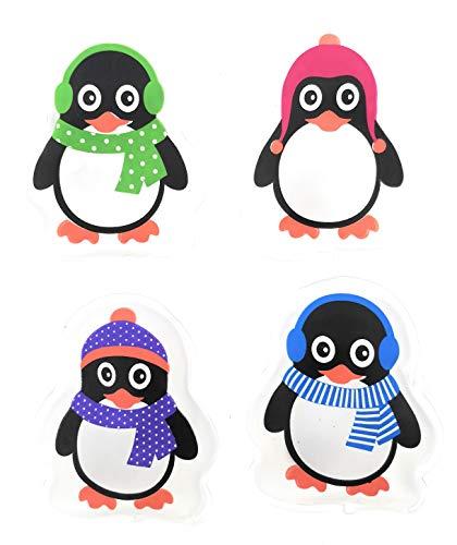 MC-Trend Juego de 4 calentadores de bolsillo con diseño de pingüinos para calentar las manos y los dedos, reutilizables.