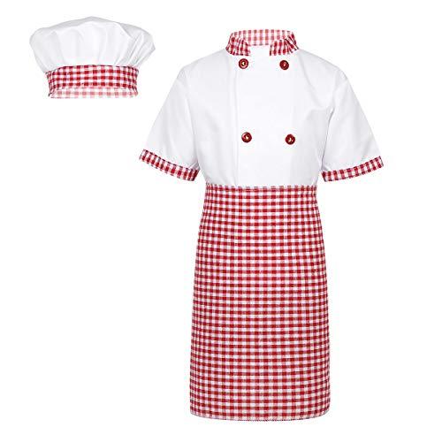 CHICTRY 3Pcs Cosplay Uniforme Chef de Cocina Baker Disfraz de Cocinero Abrigo Trajes Chaqueta con Delantal Sombreros Restaurante Camarera para Niño Niña Unisex Rojo 4-5 Años