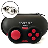 PILPOC Fidget Controller Pad Cube - Premium Quality Fidget Game Focus Toy, Smooth ABS Plastic with Exclusive Protective Case, Stress Relief Toy, for Add/ADHD (Black & Red)