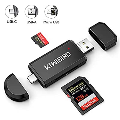 KiWiBiRD SD/Micro SD Card Reader, USB Type C Micro USB OTG USB 2.0 Memory Card Adapter for SDXC SDHC SD Micro SDXC Micro SDHC Micro SD Card UHS-I Cards Comaptible with Smartphone MacBook PC Laptop