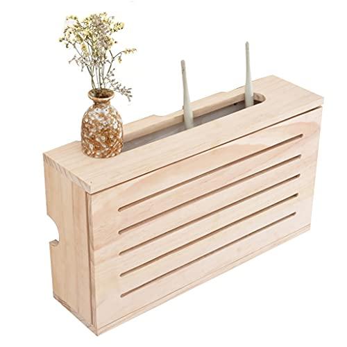 Caja de Almacenamiento de Enrutador – Caja de TV para colgar en la pared, caja de almacenamiento, soporte multifunción, estante para el hogar y la oficina (madera, 42 x 23,5 x 11 cm)