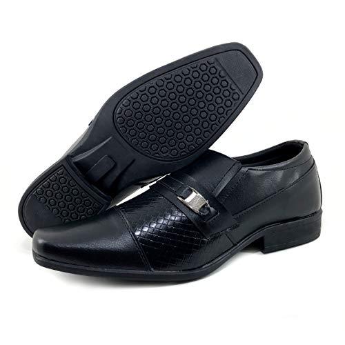 Sapato Social Masculino Sintético Resistente - AS197 Cor:Preto 807;Tamanho:40