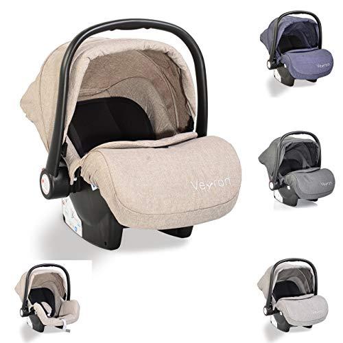 Moni silla de auto bebé Veyron grupo 0+ (0-13 kg) capota para el sol adaptador, color:beige gris