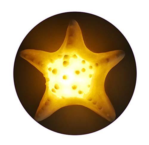 GREENIC Luz de noche LED Luz de noche arenisca portátil Estrella de mar Sin llama Vela Té Luz Decoración para el hogar Tema del océano, Funcionamiento con pilas( blanco cálido)