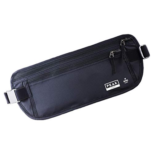 Travel Money Belt with RFID Block - Theft Protection and Global Recovery Tags (Black-REG)