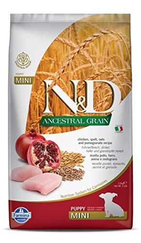 Farmina N&D Ancestral Grain Dry Dog Food, Puppy Mini Breed, 2.5-kg, Chicken and Pomegranate