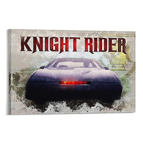 Retro Action Poster Knight Rider Leinwanddruck Heimdekoration für Wohnzimmer Schlafzimmer Wand-Bilderrahmen 20 x 30 cm