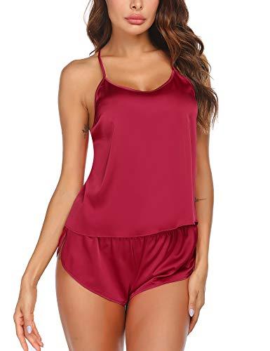Ekouaer Pajamas Set Sexy Sleepwear Womens Silk Lingerie Sexy Back 2 Piece Satin Cami Shorts Set PJS Wine Red