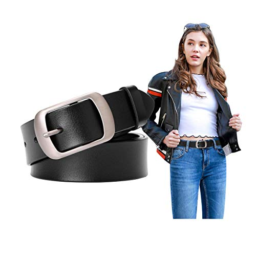Women Cowhide Leather Belts Black Leather Waist Belt for Jeans,25-30