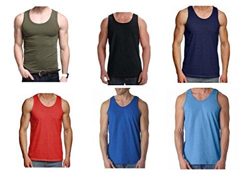 Riddled with Style - Juego de 6 camisetas de tirantes para hombre, 100% algodón, para entrenamiento, color liso