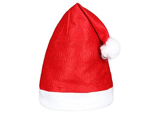 Bonnet de Père Noël avec Pompon - 30x40 cm - indéchirable et adapté à Toutes Les têtes - agréablement Doux (wm-32)