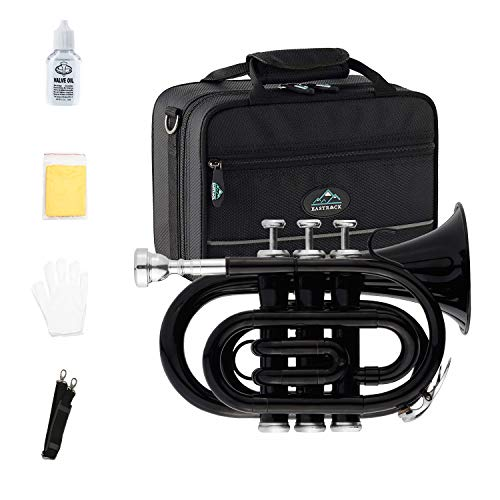 EastRock Pocket Trumpet Black Laquer Brass Bb Pocket Trumpet for Beginners or Students, Intermediate Players with Standard 7C Trumpet Mouthpiece,Hard Case,Valve Oil,Strap,White Gloves&Cleaning Cloth