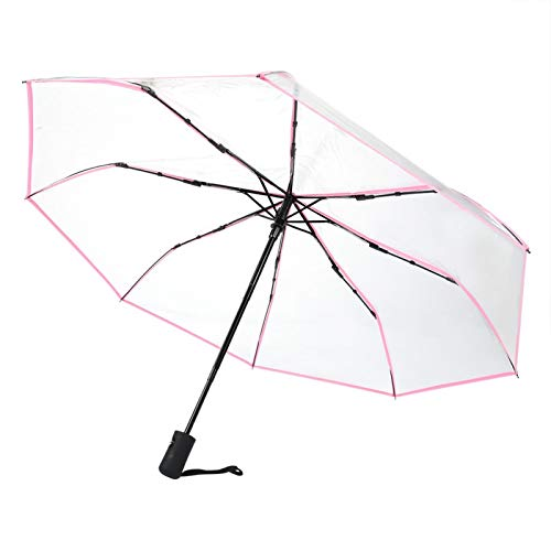 Mothinessto Paraguas de Exterior portátil Transparente Que se Adapta a una Mochila para días de Lluvia al Aire Libre(Rosado)