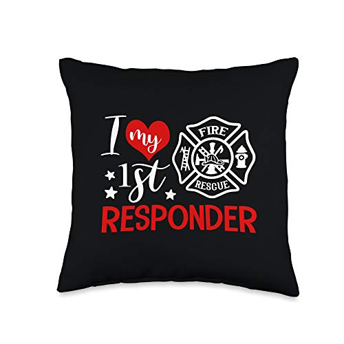 I Love My 1st Responder Firefighter Wife Present I Love My 1st Responder Proud Firefighter Fireman Wife Gift Throw Pillow, 16x16, Multicolor