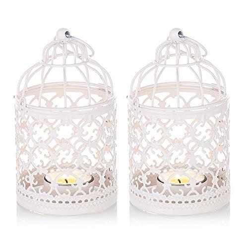 Nuptio 2 Stück Teelichthalter, Vintage Kerze Laterne Dekorative Metall Kerzenhalter Zum Aufhängen oder Tisch Home Decor Hochzeit Partyzubehör, 14cm Höhe, Weiß Laternen für Draußen, Kerzenständer