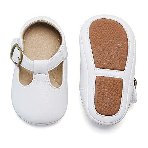 Felix & Flora Infant Baby Girls Shoes Soft Rubber Sole Princess Dress Shoes Baby Walking Shoes(2-2.5 Years Toddler,White)