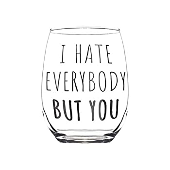 Birthday Gifts for Women Best Friend - I Hate Everybody But You Stemless - Funny Wine Glass Gift for Her Woman Friends Bff Bestfriend - Birthday Presents for Mom Sister Aunt - Friendship Gifts