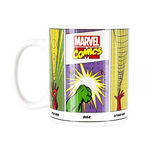 Paladone PP4834MC Marvel Comics Super Powers mok koffie- en theekop, voor gevoelige dranken, kleur en design verandert in warm en cadeau voor alle leeftijden, keramiek, 300 ml